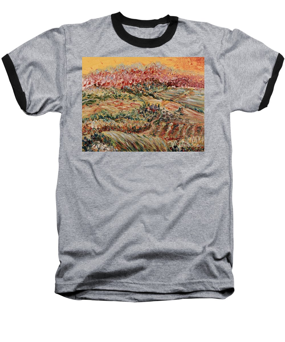 Provence Baseball T-Shirt featuring the painting Golden Provence by Nadine Rippelmeyer