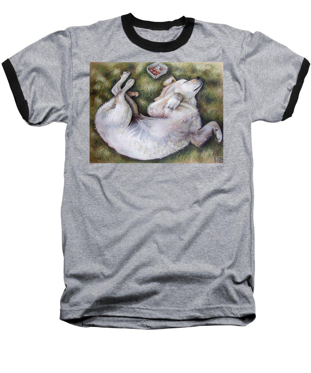 Dog Baseball T-Shirt featuring the pastel Golden Retriever Puppy by Nicole Zeug