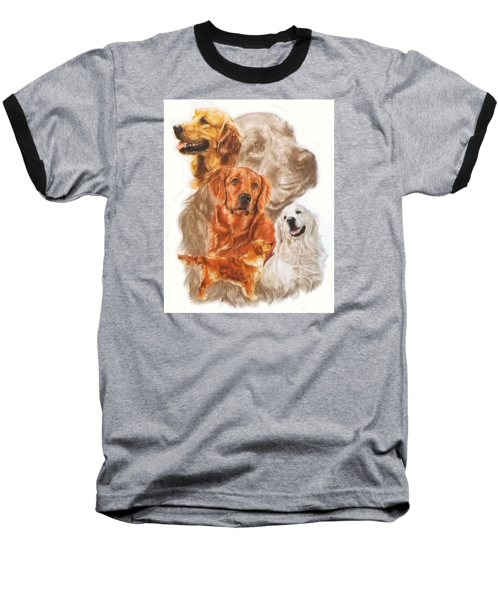 Retriever Baseball T-Shirt featuring the mixed media Golden Retriever W/ghost by Barbara Keith