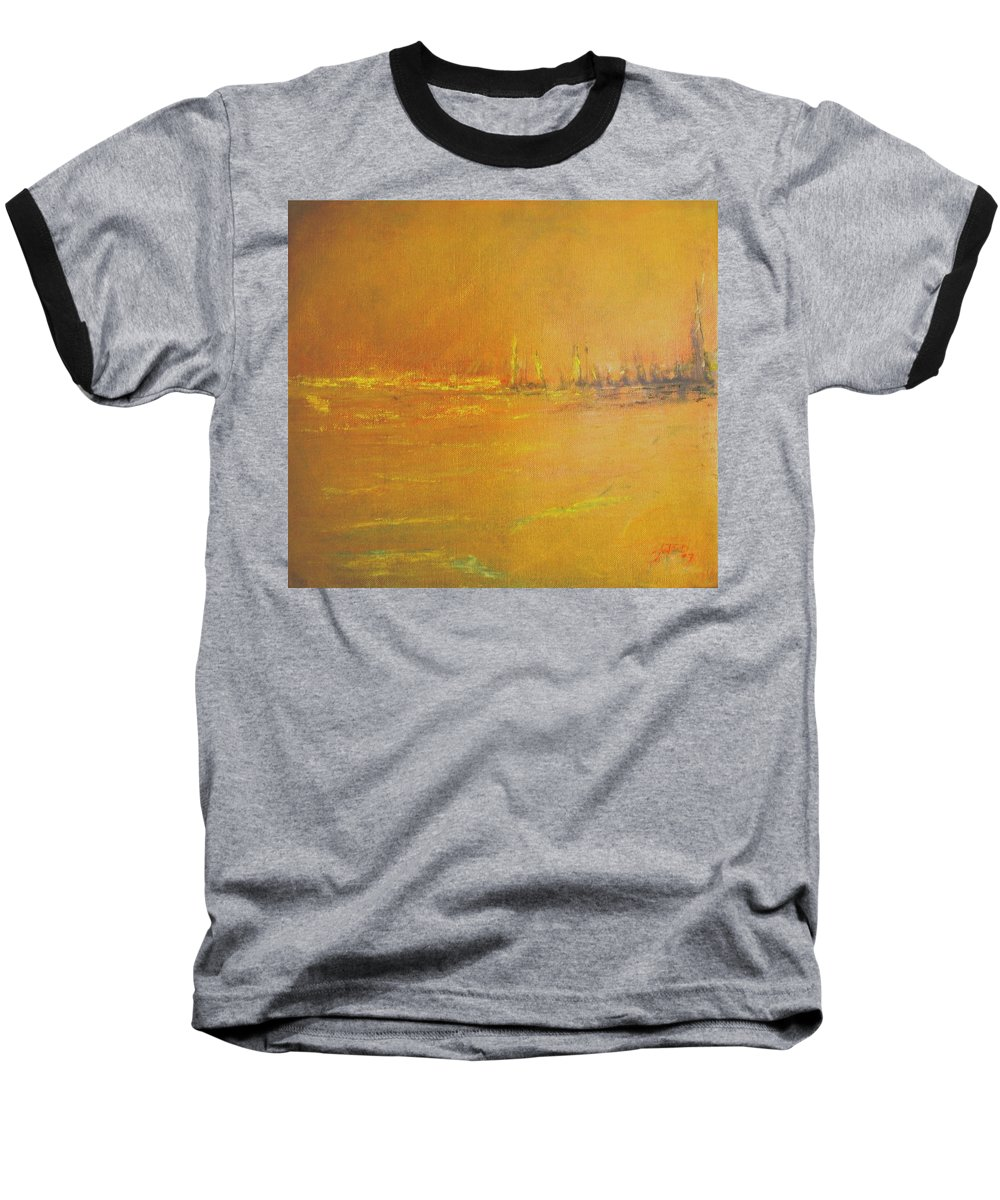 Ships Baseball T-Shirt featuring the painting Golden Sky by Jack Diamond