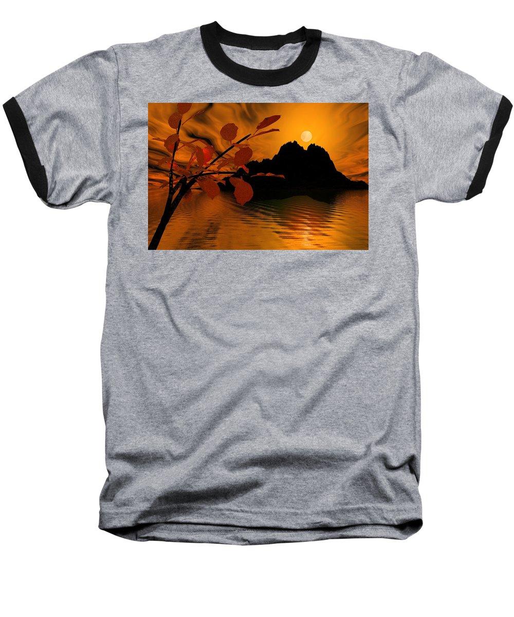 Landscape Baseball T-Shirt featuring the digital art Golden Slumber Fills My Dreams. by David Lane
