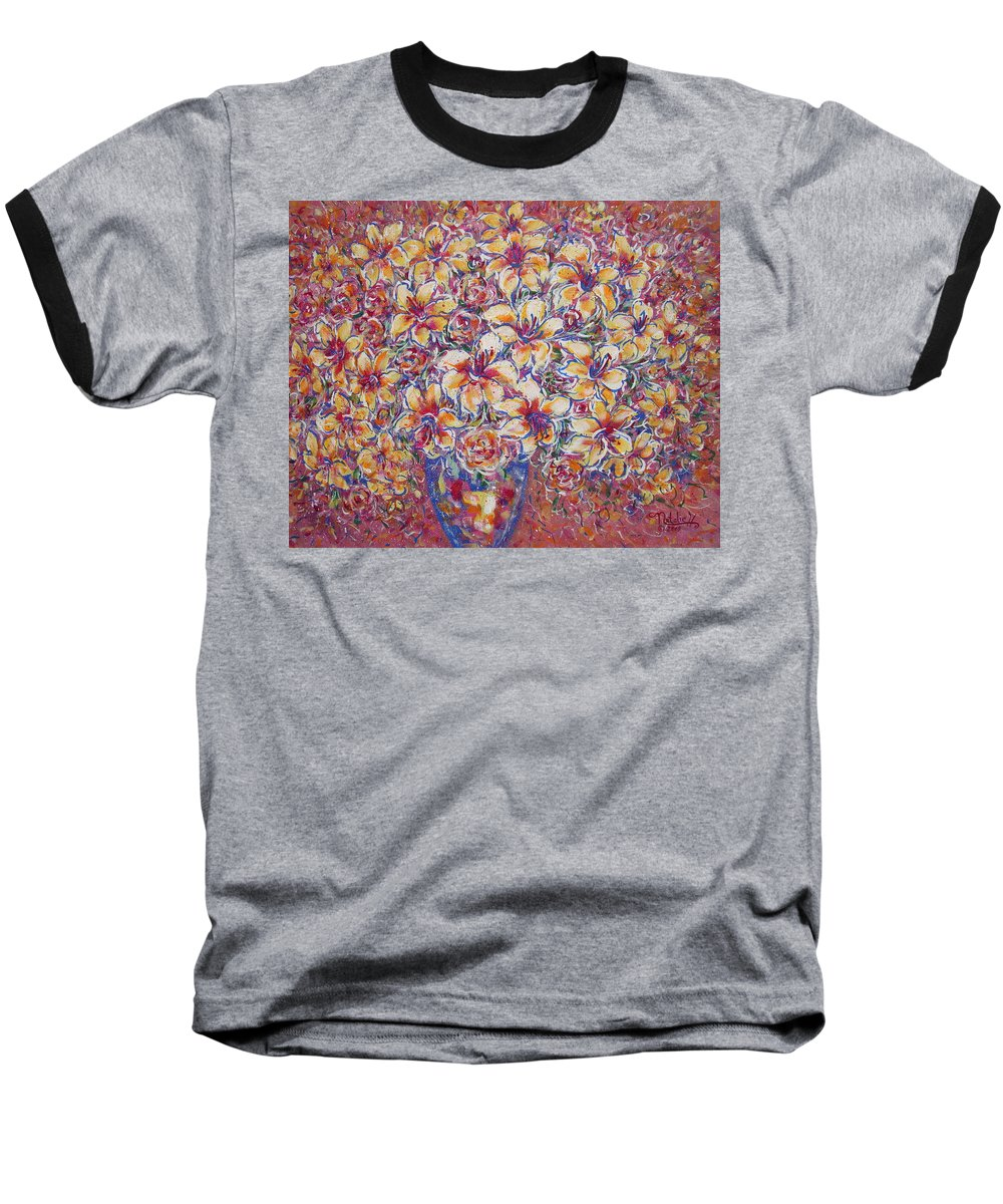 Lily Baseball T-Shirt featuring the painting Golden Splendor by Natalie Holland