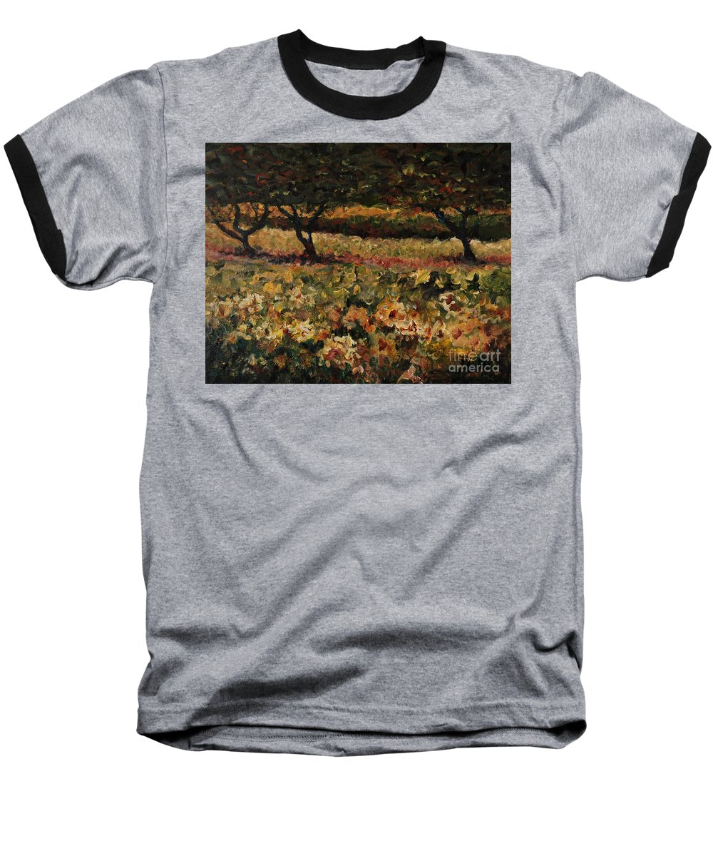 Landscape Baseball T-Shirt featuring the painting Golden Sunflowers by Nadine Rippelmeyer