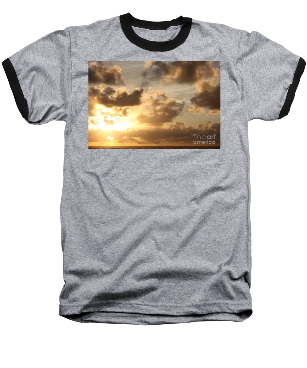 Sunrise Baseball T-Shirt featuring the photograph Golden Sunrise On Kauai by Nadine Rippelmeyer