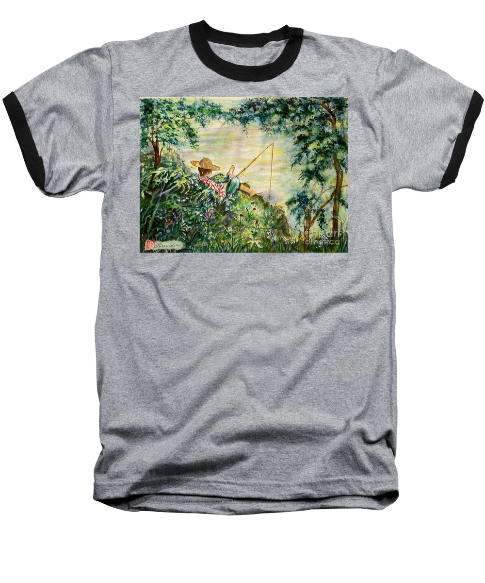 Landscape Baseball T-Shirt featuring the painting Good Fishing by Norma Boeckler