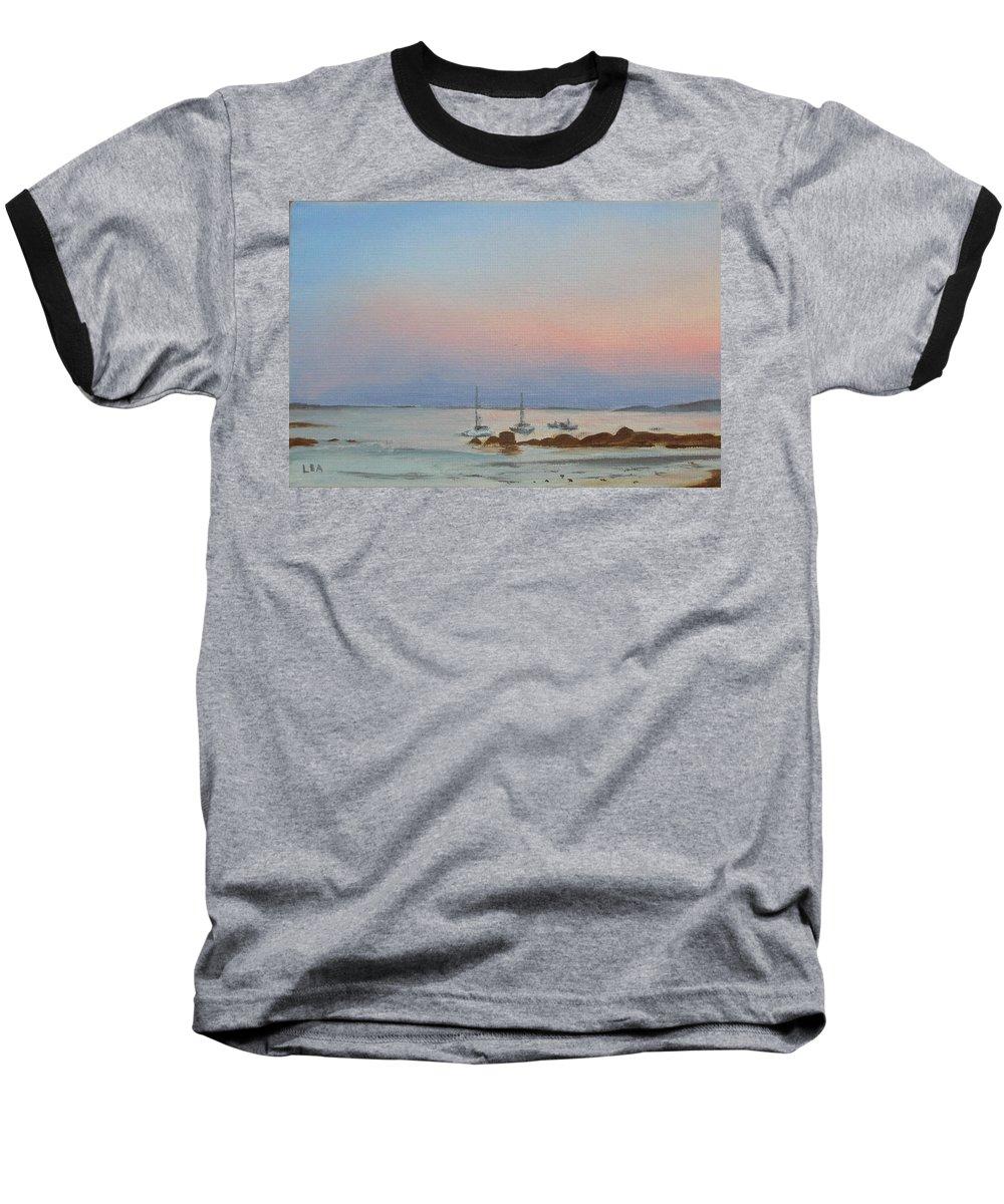 Seascape Baseball T-Shirt featuring the painting Good Harbor by Lea Novak