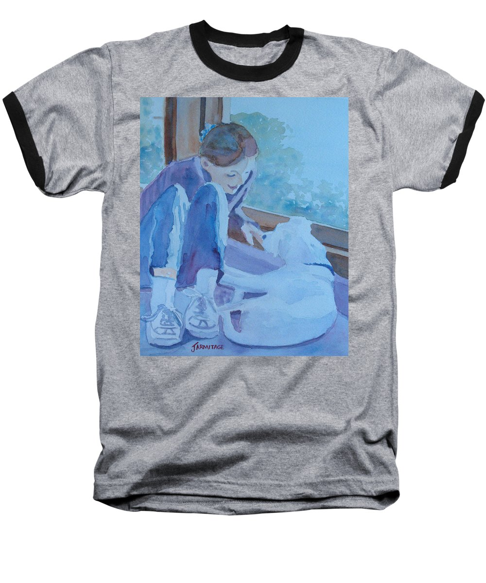 Girl Baseball T-Shirt featuring the painting Good Morning Puppy by Jenny Armitage