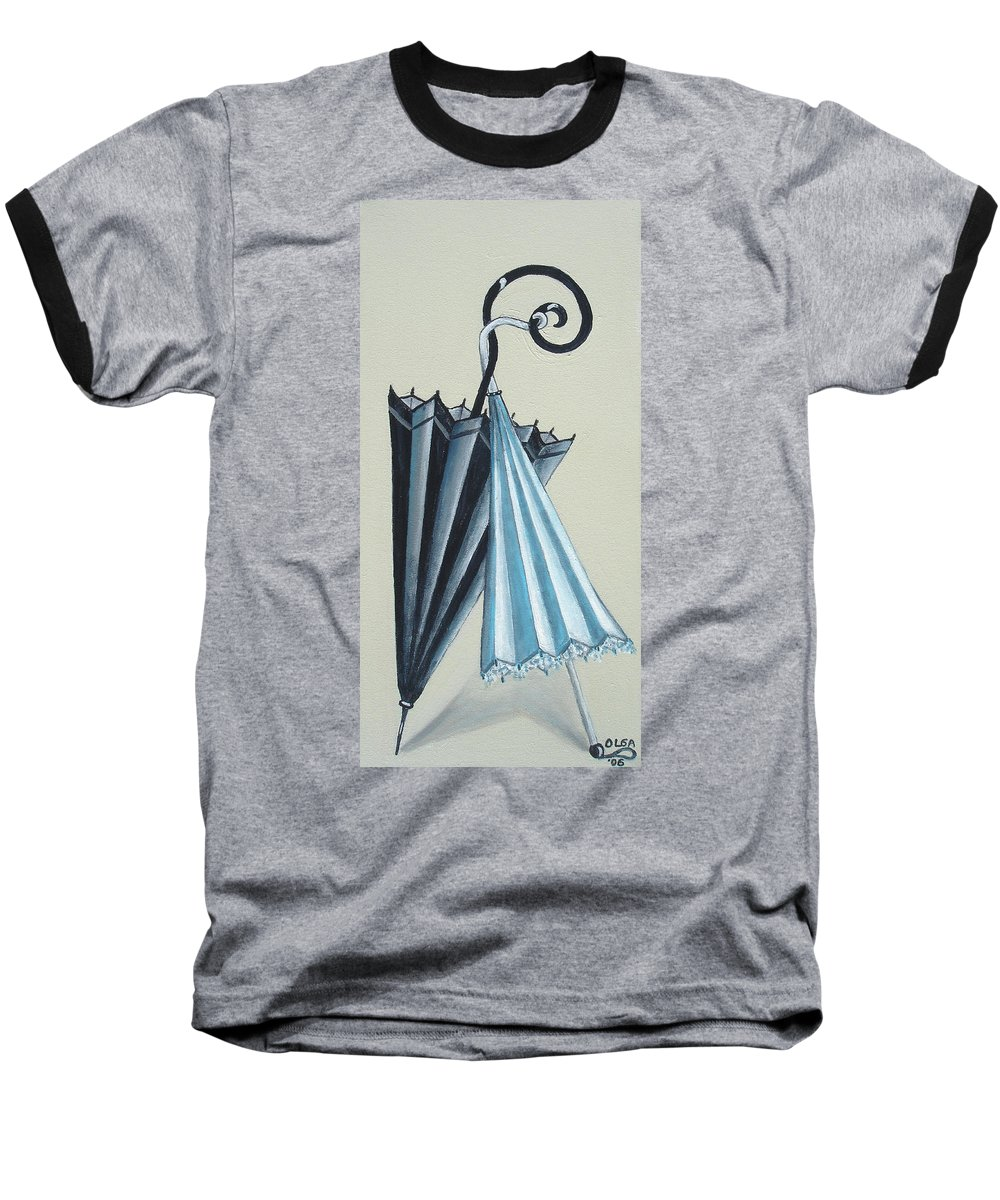Umbrellas Baseball T-Shirt featuring the painting Goog Morning by Olga Alexeeva