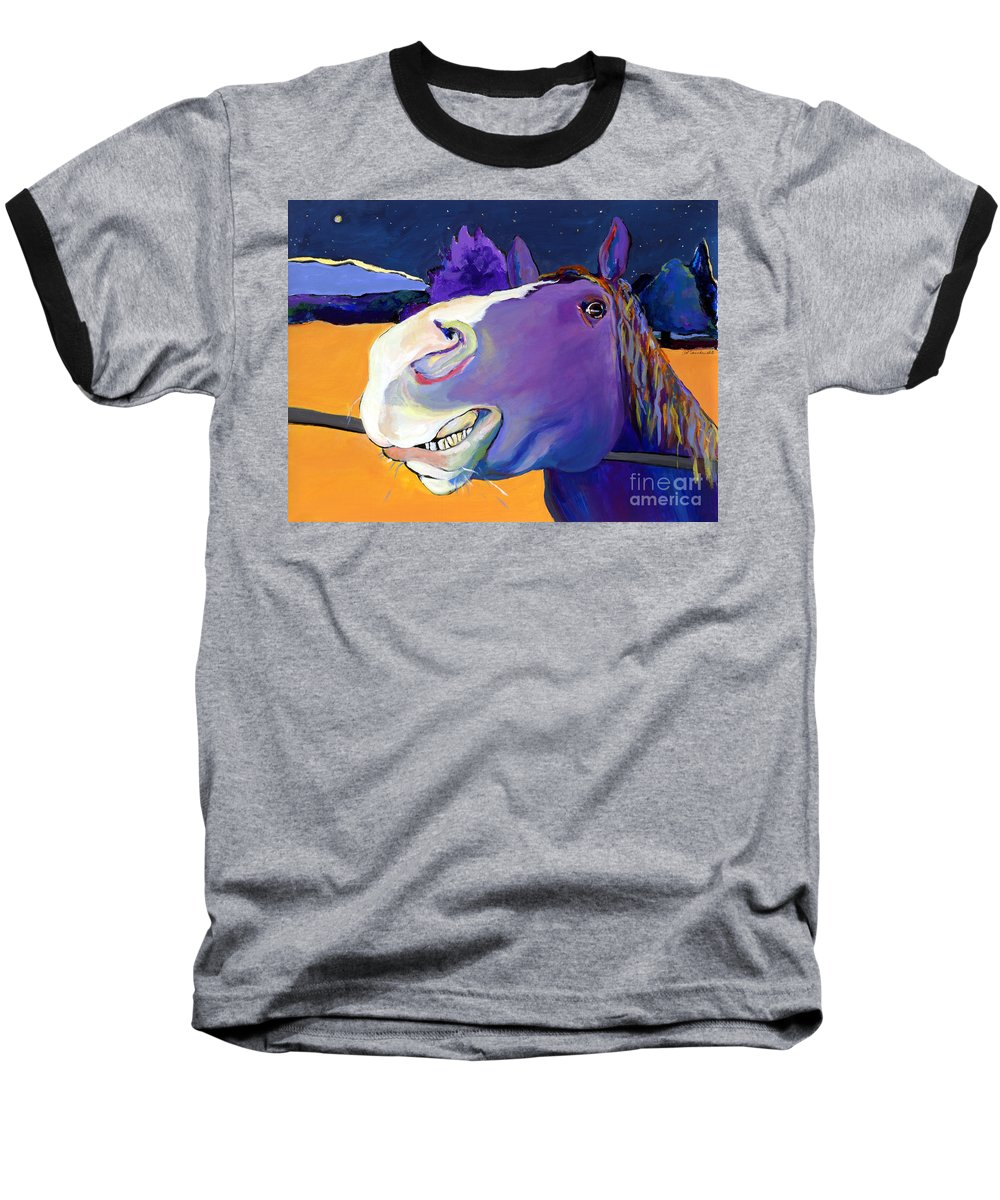 Barnyard Animal Baseball T-Shirt featuring the painting Got Oats   by Pat Saunders-White
