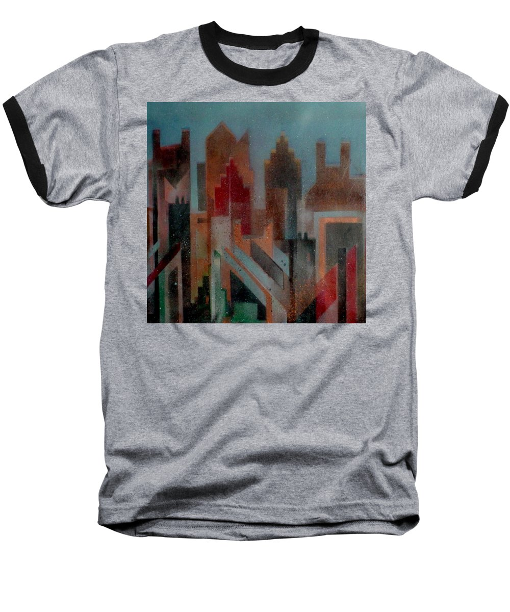 Abstract Baseball T-Shirt featuring the painting Gothem City by Anita Burgermeister