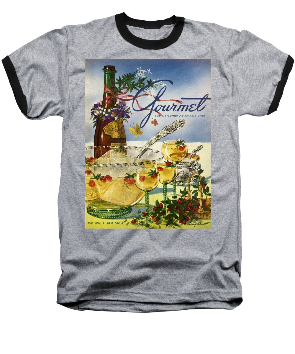 Illustration Baseball T-Shirt featuring the photograph Gourmet Cover Featuring A Bowl And Glasses by Henry Stahlhut
