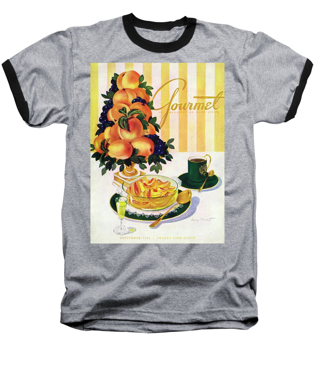 Illustration Baseball T-Shirt featuring the photograph Gourmet Cover Featuring A Centerpiece Of Peaches by Henry Stahlhut