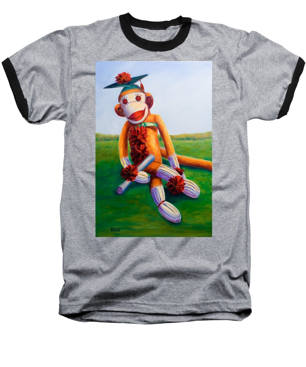 Graduation Baseball T-Shirt featuring the painting Graduate Made Of Sockies by Shannon Grissom