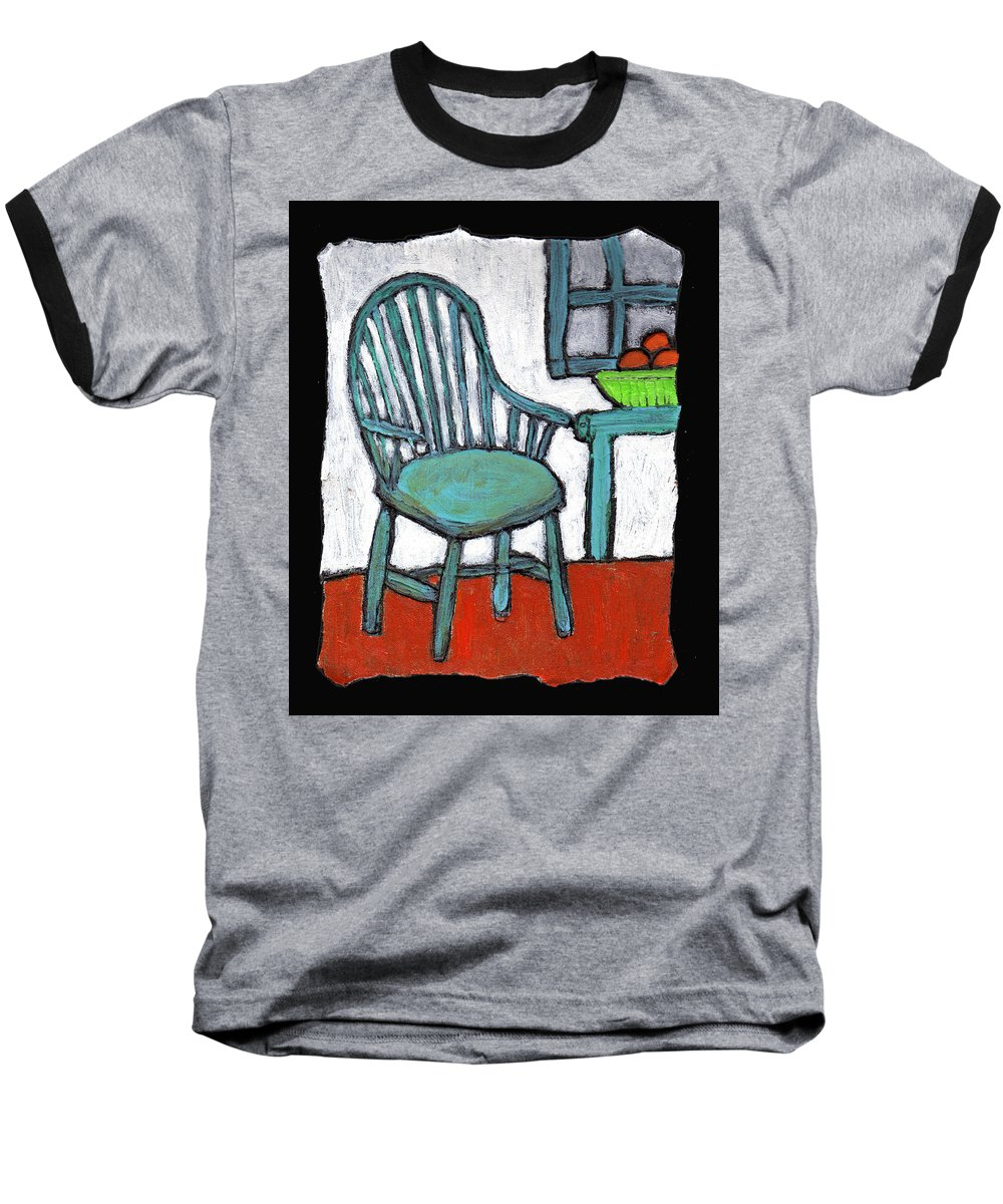 Chair Baseball T-Shirt featuring the painting Grampa's Empty Chair by Wayne Potrafka