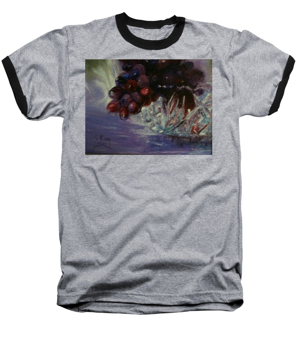 Still Life Baseball T-Shirt featuring the painting Grapes And Glass by Stephen King