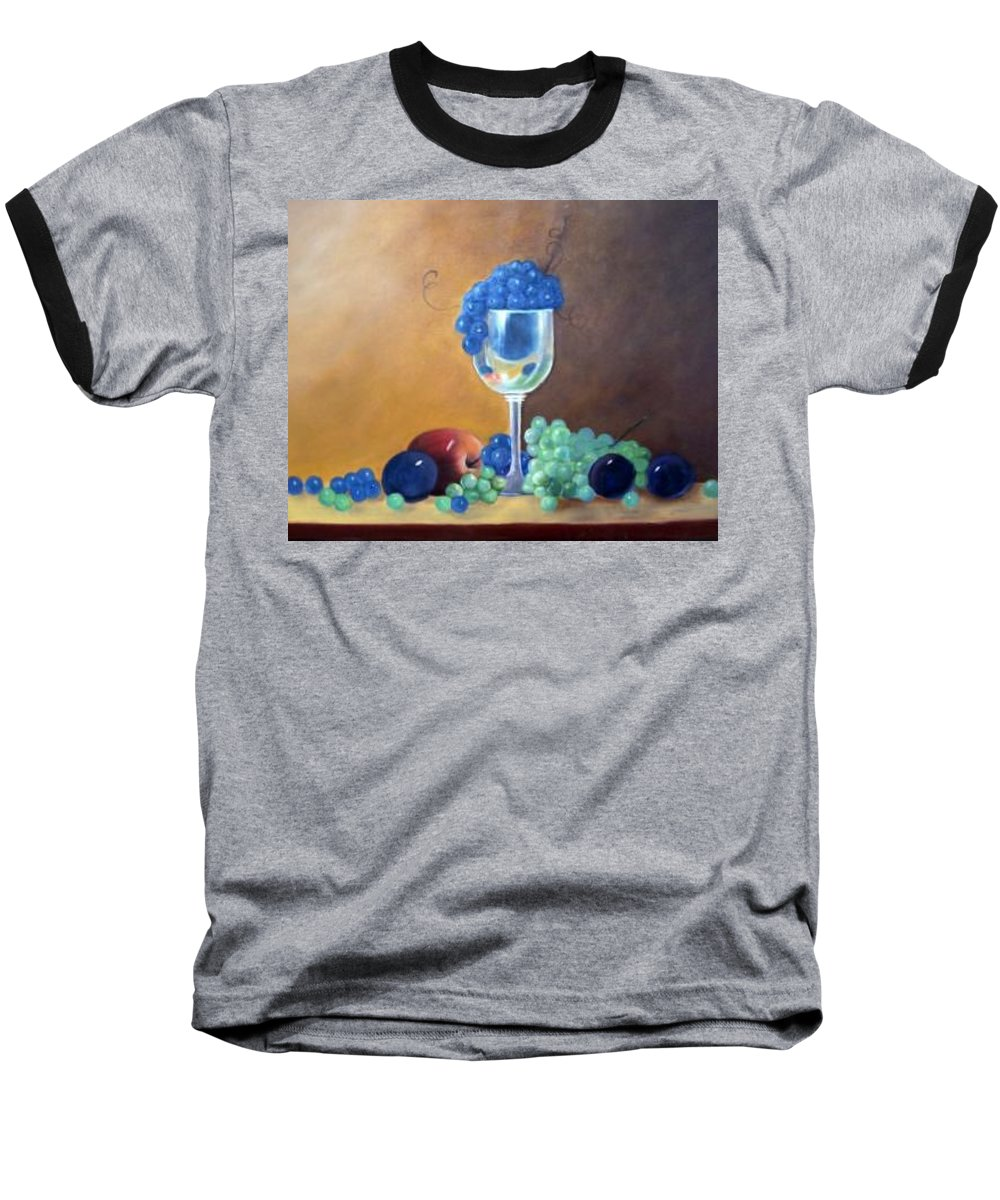 Wine Galsses With Grapes Baseball T-Shirt featuring the painting Grapes And Plums by Susan Dehlinger