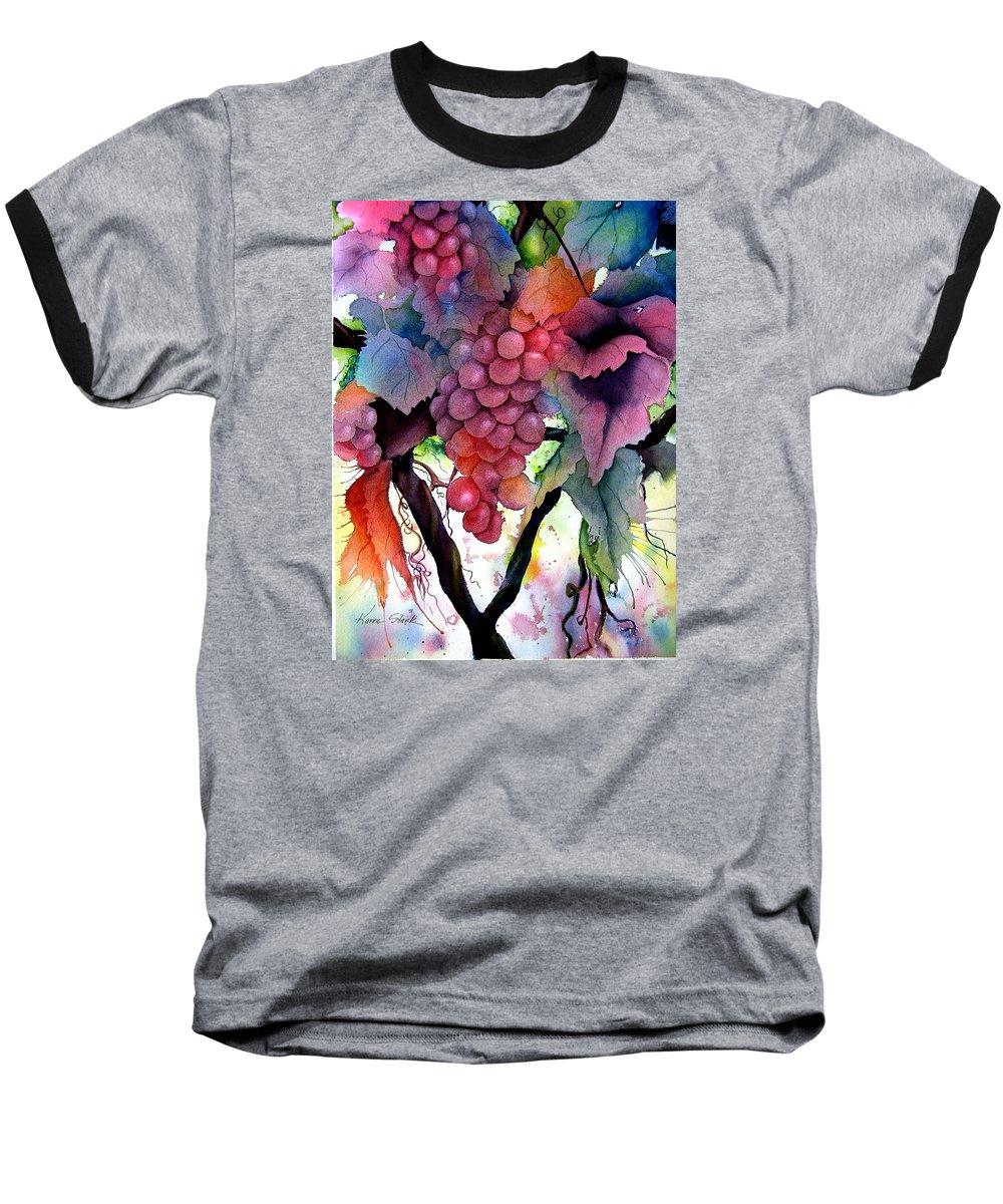 Grape Baseball T-Shirt featuring the painting Grapes IIi by Karen Stark