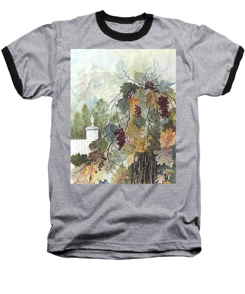 Fruit Baseball T-Shirt featuring the painting Grapevine Topiary by Ben Kiger