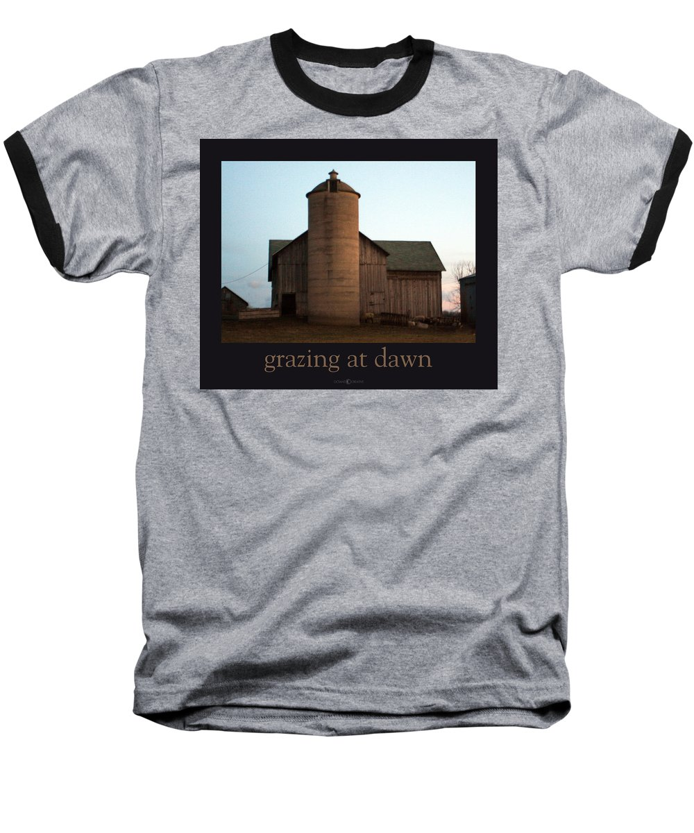 Barn Baseball T-Shirt featuring the photograph Grazing At Dawn by Tim Nyberg