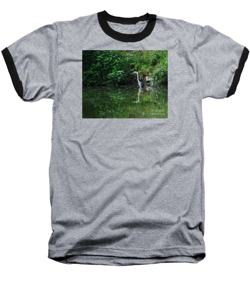 Lanscape Water Bird Crane Heron Blue Green Flowers Great Photograph Baseball T-Shirt featuring the photograph Great Blue Heron Hunting Fish by Dawn Downour