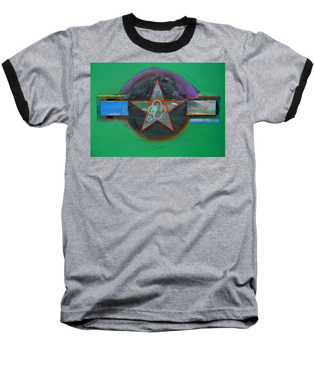 Star Baseball T-Shirt featuring the painting Green And Violet by Charles Stuart