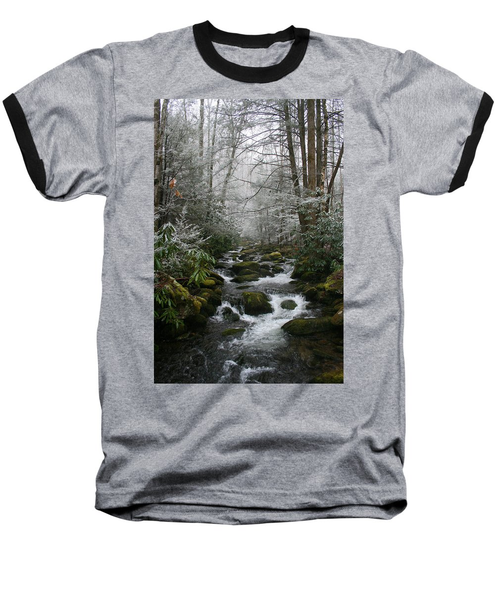 Green Snow Tree Trees Winter Stream River Creek Water Stone Rock Flow Boulder Forest Woods Cold Baseball T-Shirt featuring the photograph Green And White by Andrei Shliakhau