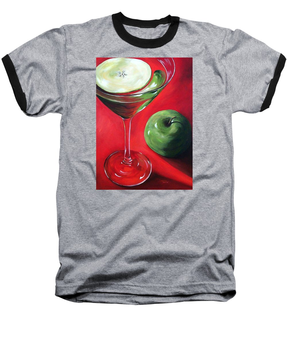Martini Baseball T-Shirt featuring the painting Green Apple Martini by Torrie Smiley