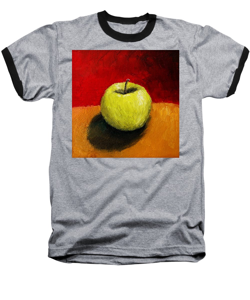 Apple Baseball T-Shirt featuring the painting Green Apple With Red And Gold by Michelle Calkins