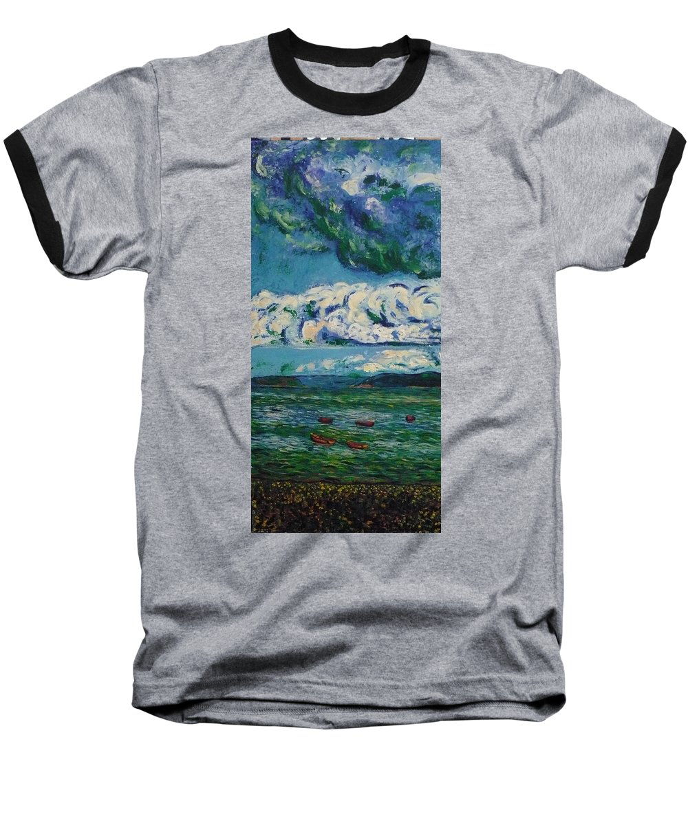 Landscape Baseball T-Shirt featuring the painting Green Beach by Ericka Herazo