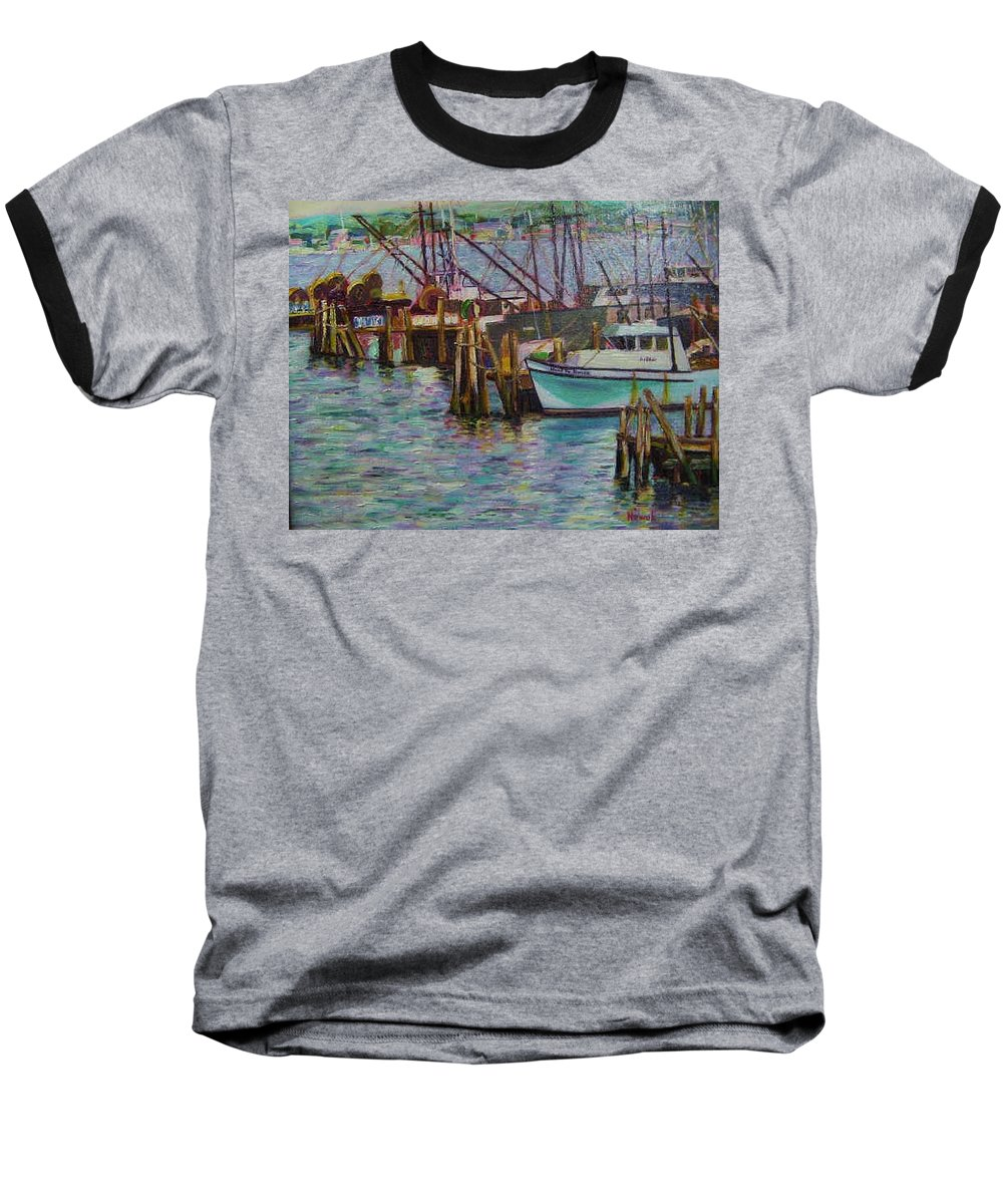 Boat Baseball T-Shirt featuring the painting Green Boat At Rest- Nova Scotia by Richard Nowak
