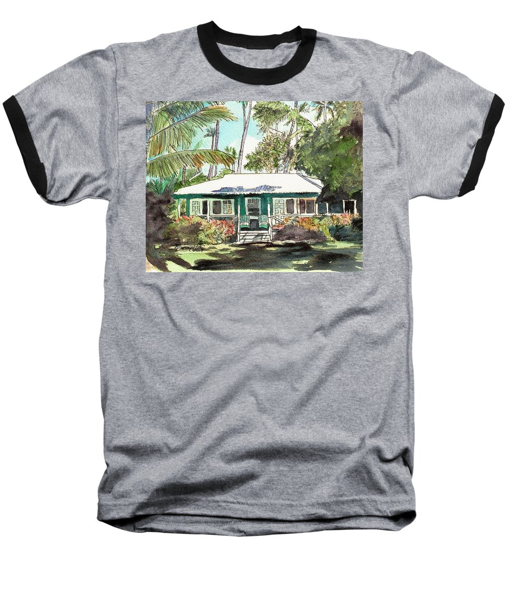 Cottage Baseball T-Shirt featuring the painting Green Cottage by Marionette Taboniar