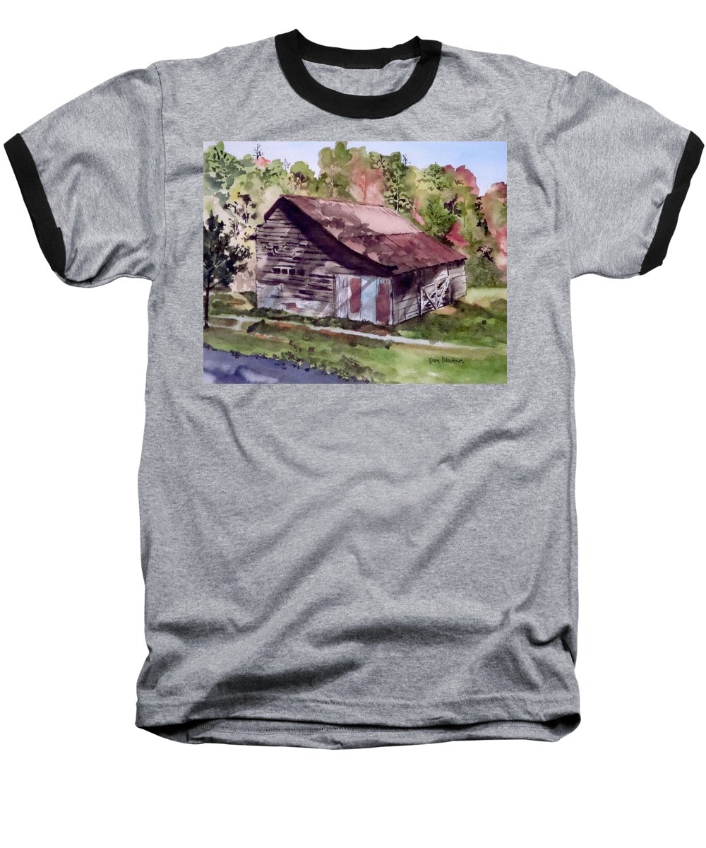 Barns Baseball T-Shirt featuring the painting Green Creek Barn by Jean Blackmer