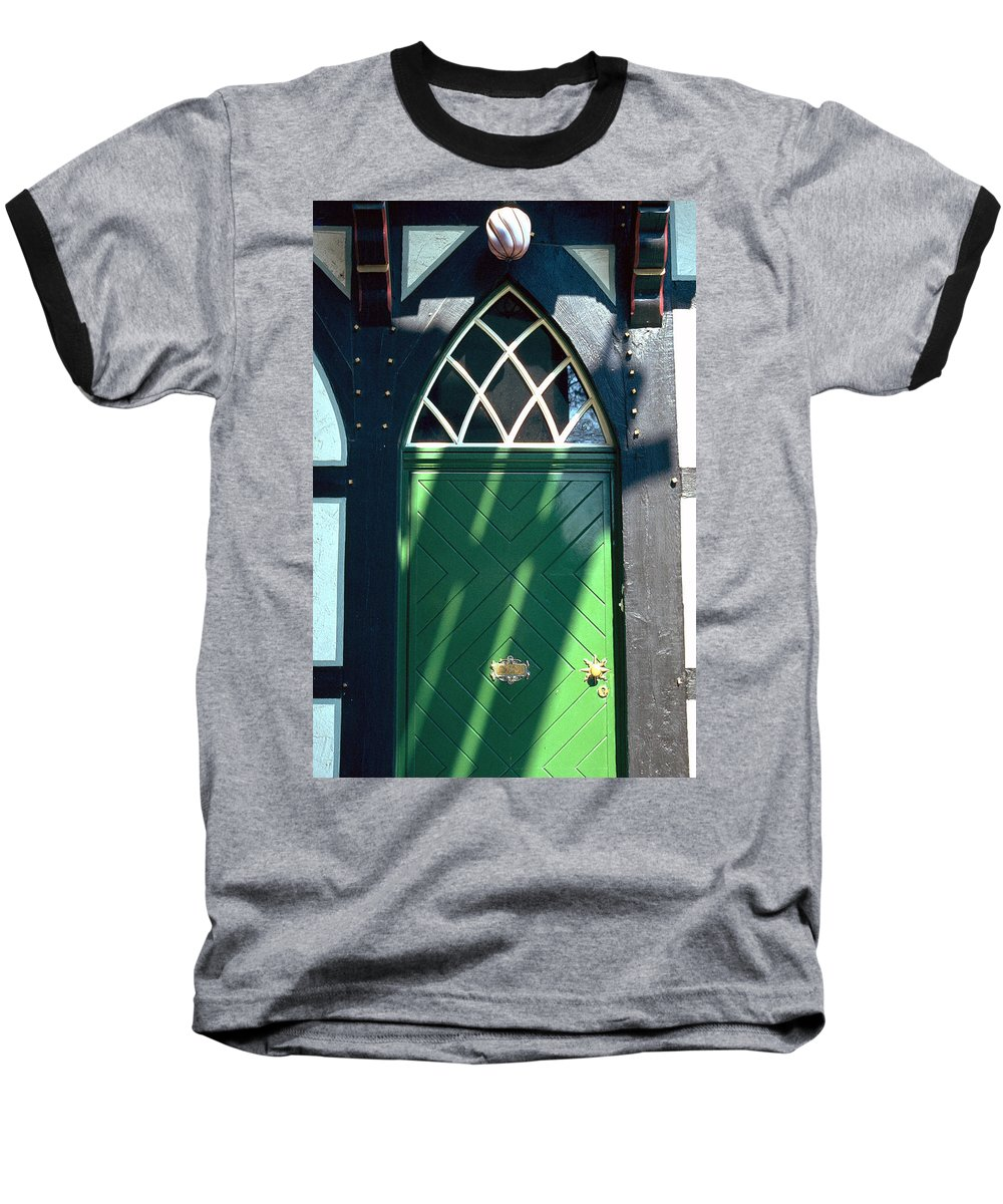 Green Baseball T-Shirt featuring the photograph Green Door by Flavia Westerwelle