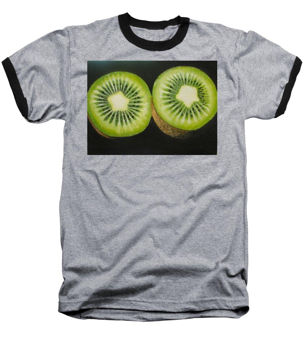 Kiwi Baseball T-Shirt featuring the painting Green Kiwi Oil Painting by Natalja Picugina