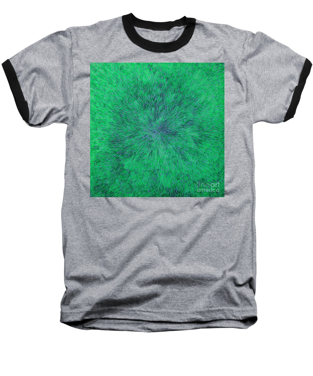Abstract Baseball T-Shirt featuring the painting Green Radation With Violet by Dean Triolo