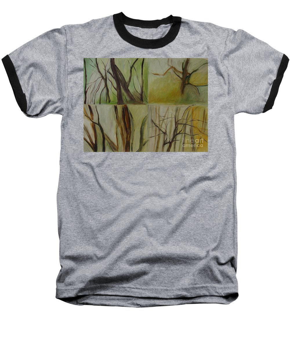 Spring Young Trees Saplings Trees Baseball T-Shirt featuring the painting Green Sonnet by Leila Atkinson