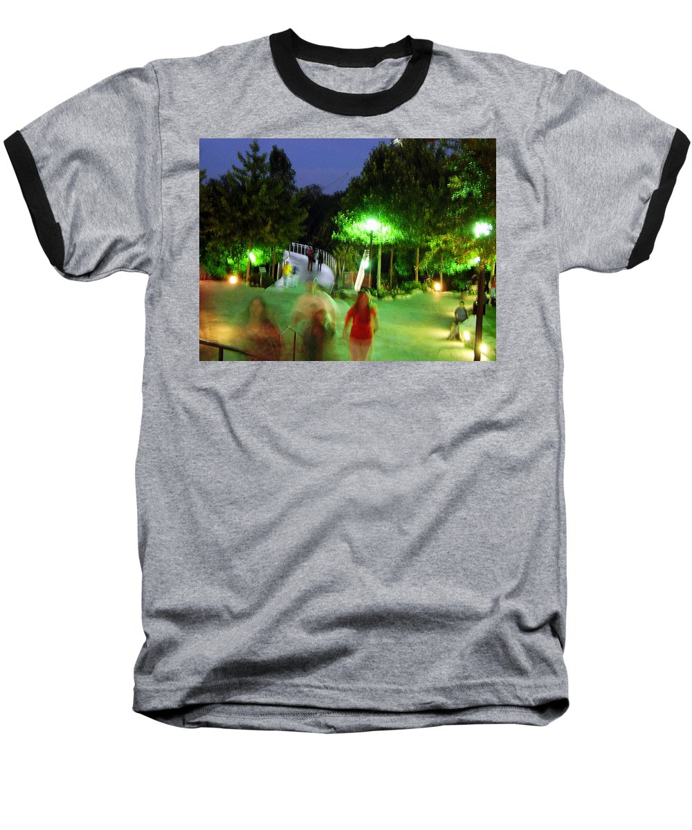 Falls Park Baseball T-Shirt featuring the photograph Greenville At Night by Flavia Westerwelle
