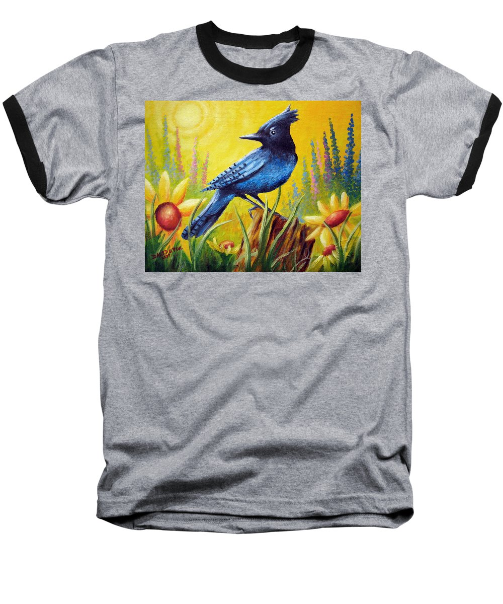 Bird Baseball T-Shirt featuring the painting Greeting The Day by David G Paul