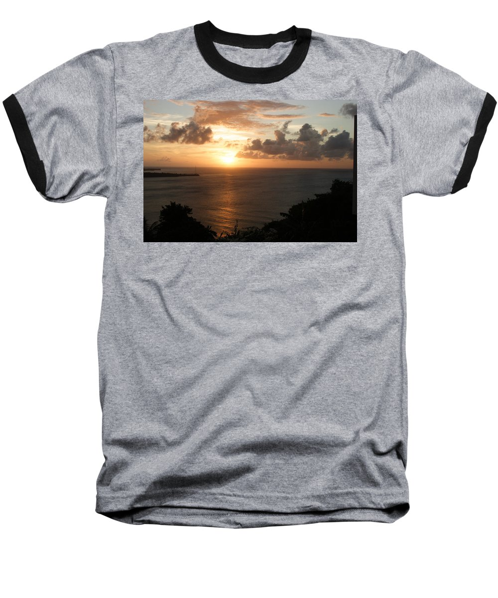 Grenada Baseball T-Shirt featuring the photograph Grenadian Sunset I by Jean Macaluso