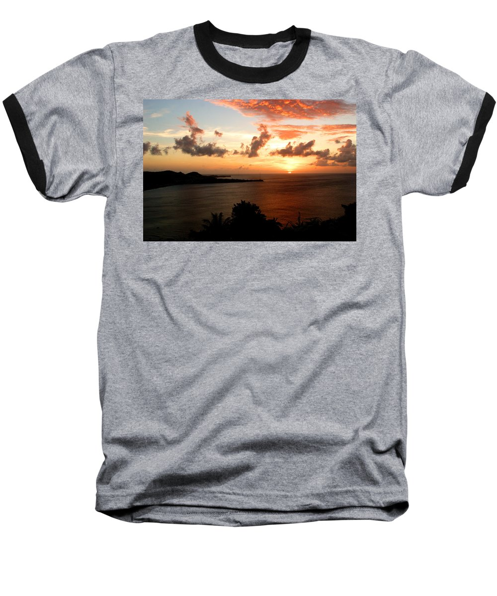 Sunset Baseball T-Shirt featuring the photograph Grenadian Sunset II by Jean Macaluso