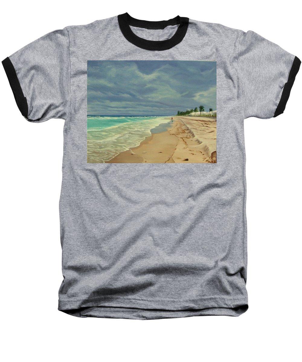 Beach Baseball T-Shirt featuring the painting Grey Day On The Beach by Lea Novak