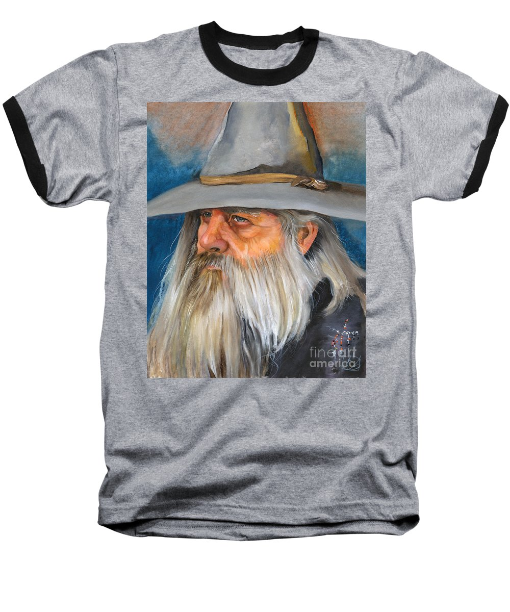 Wizard Baseball T-Shirt featuring the painting Grey Days by J W Baker