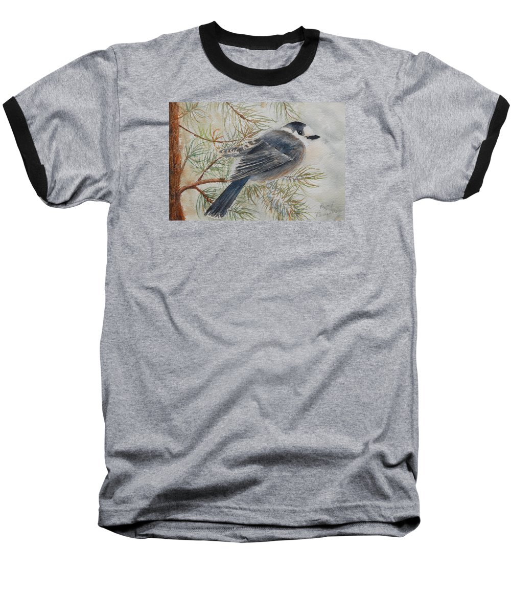 Bird Baseball T-Shirt featuring the painting Grey Jay by Ruth Kamenev