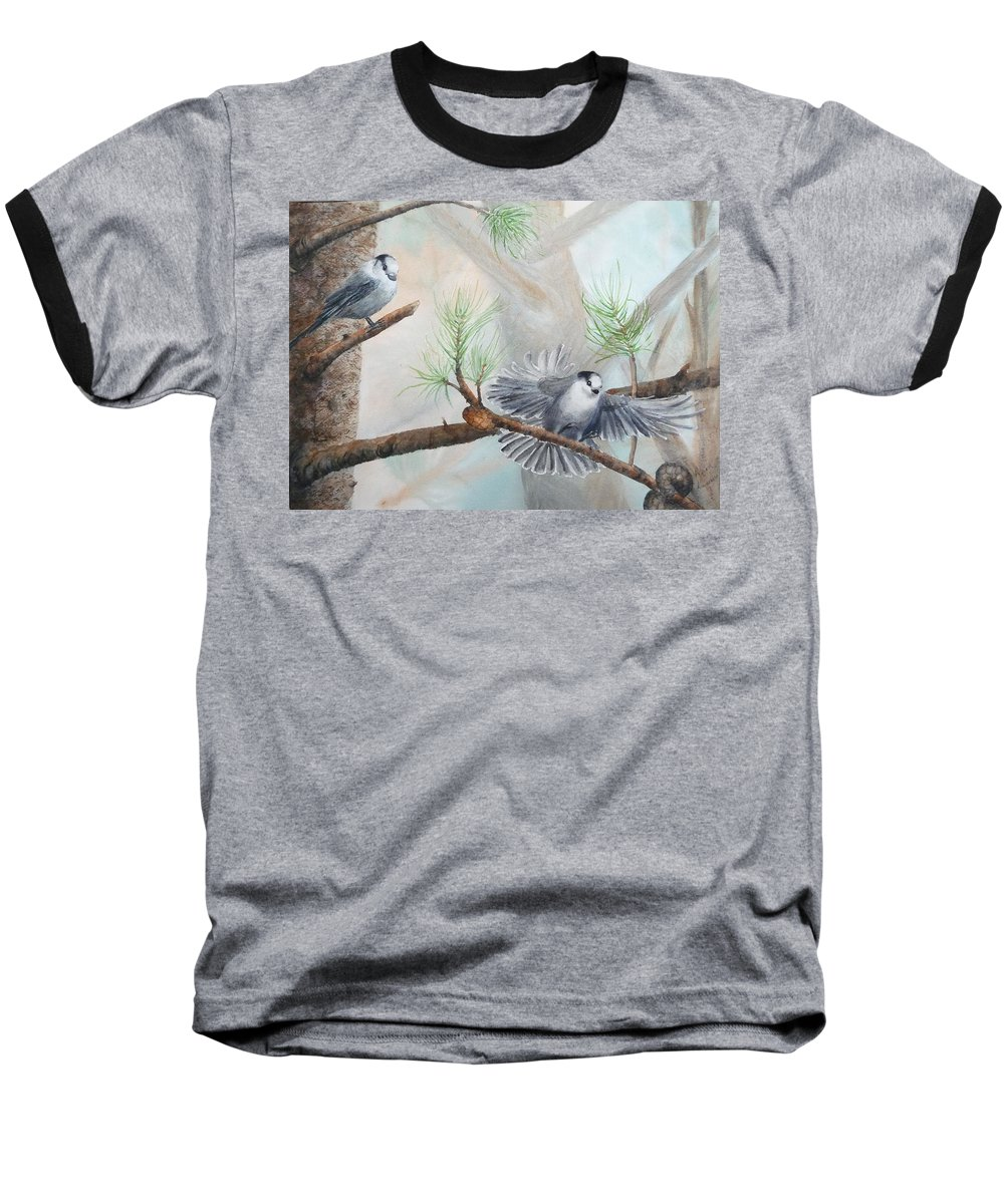 Grey Jay Baseball T-Shirt featuring the painting Grey Jays In A Jack Pine by Ruth Kamenev