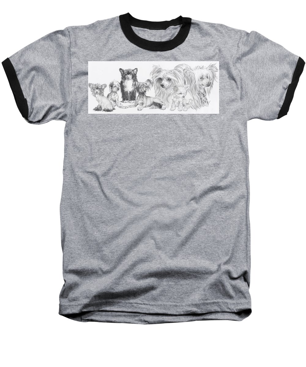 Toy Group Baseball T-Shirt featuring the drawing Growing Up Chinese Crested And Powderpuff by Barbara Keith