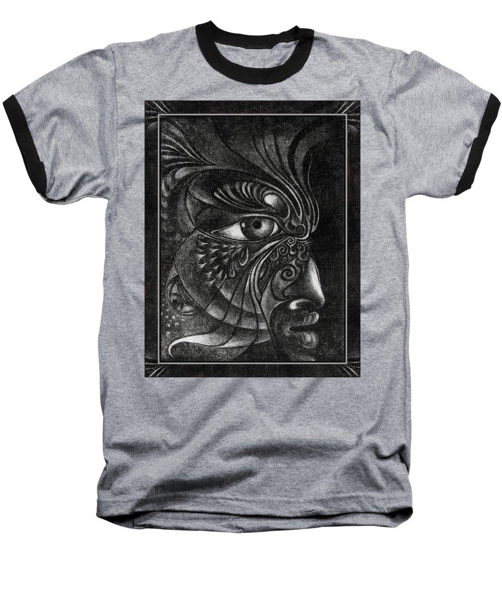 Mezzotint Baseball T-Shirt featuring the drawing Guardian Cherub by Otto Rapp