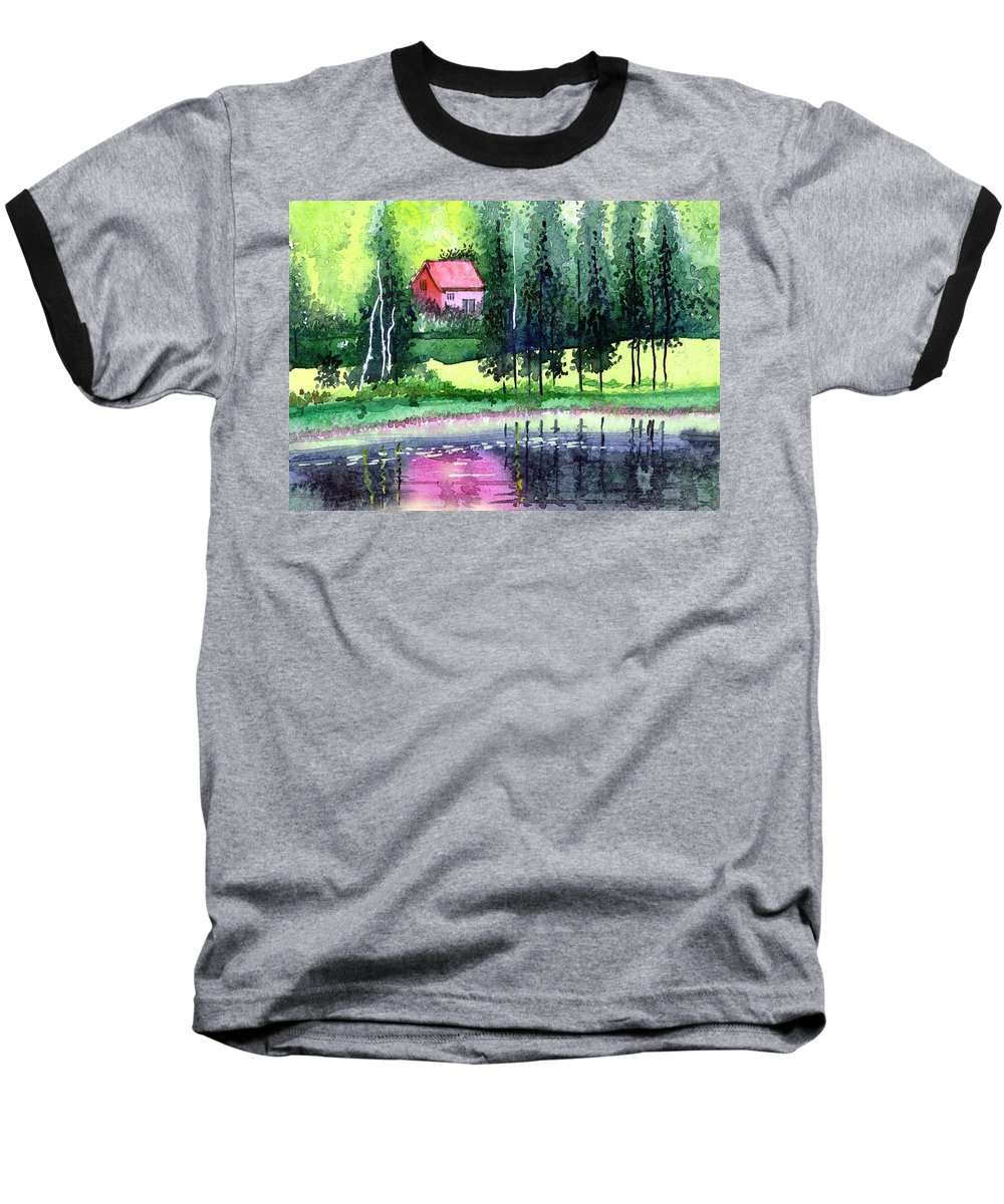 Landscape Baseball T-Shirt featuring the painting Guest House by Anil Nene