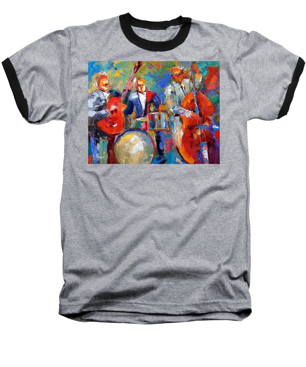 Jazz Painting Baseball T-Shirt featuring the painting Guitar Drums And Bass by Debra Hurd