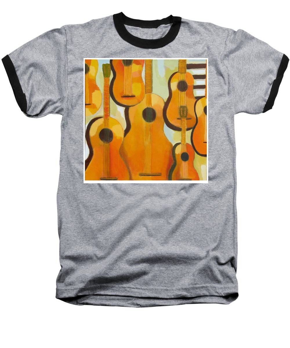 Abstract Baseball T-Shirt featuring the painting Guitars by Habib Ayat