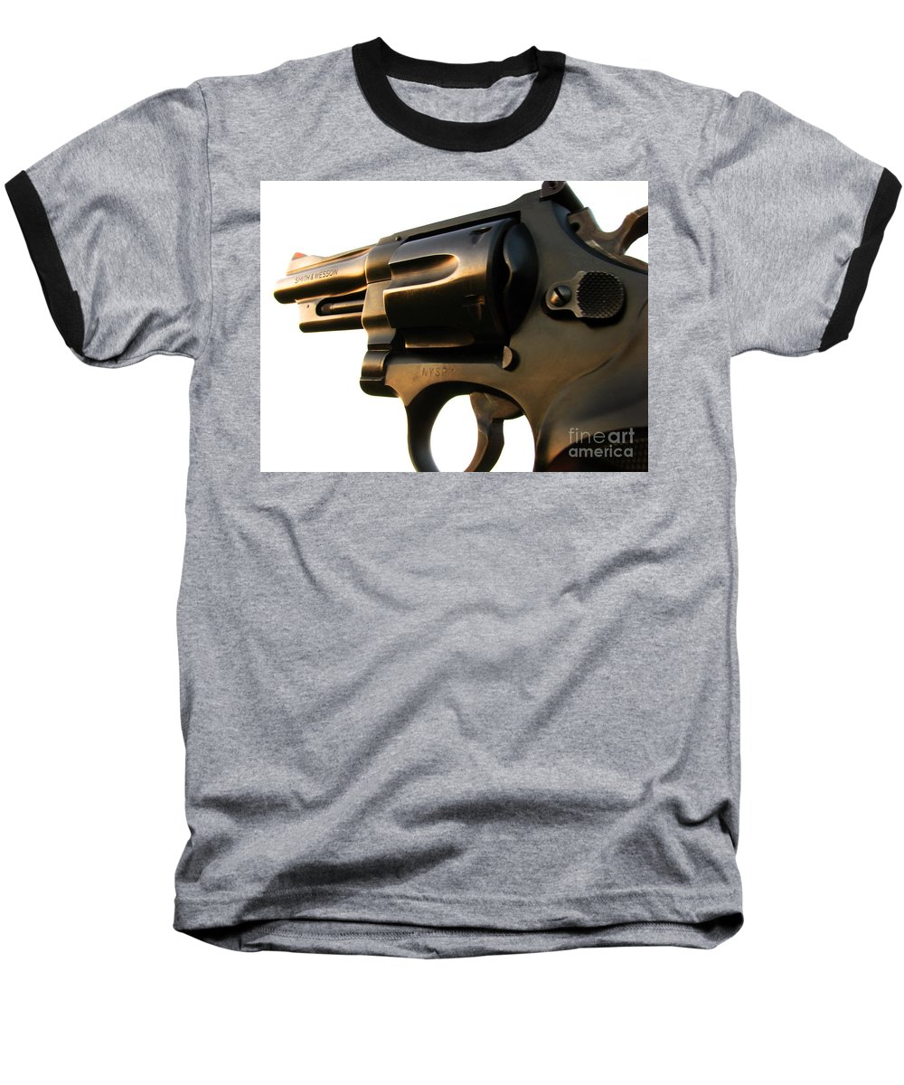 Gun Baseball T-Shirt featuring the photograph Gun Series by Amanda Barcon